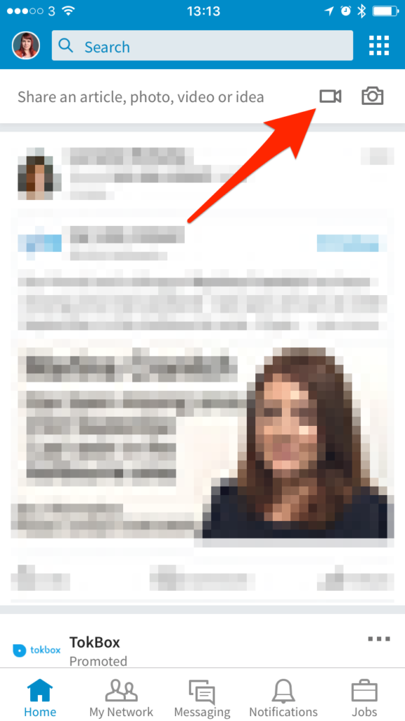 Upload and shoot LinkedIn native video from the mobile app -- screenshot step 1