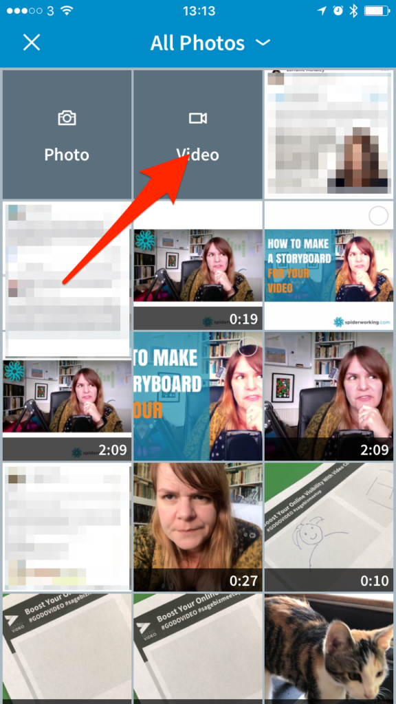 Choose a video from your camera roll or shoot one -- screenshot step 2