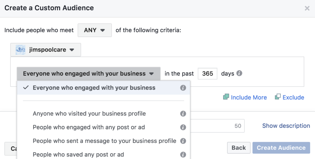 Instagram Business Profile Engagement Custom Audience