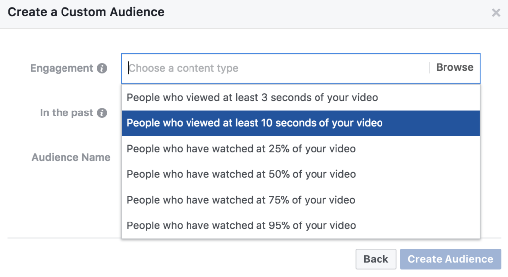 Video Engagement Custom Audience - 10 seconds plus