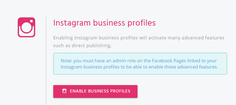Enable Instagram business profile
