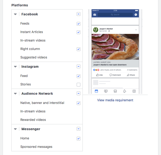 All Facebook Placement Options