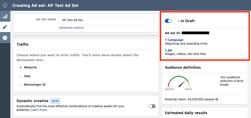 Facebook Ad Level Navigation