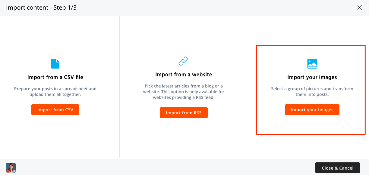 Bulk upload images and schedule to social media.