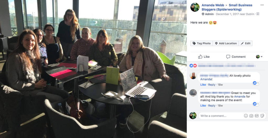 Keep my Facebook group alive: Members of my Small Business Bloggers Facebook group met up in real life