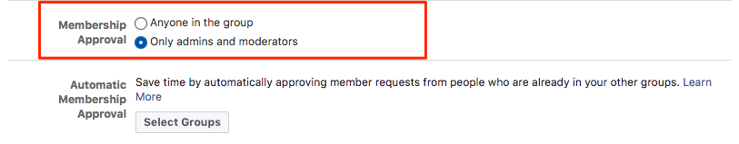 Keep my Facebook group alive: Restrict who can add new members to the group