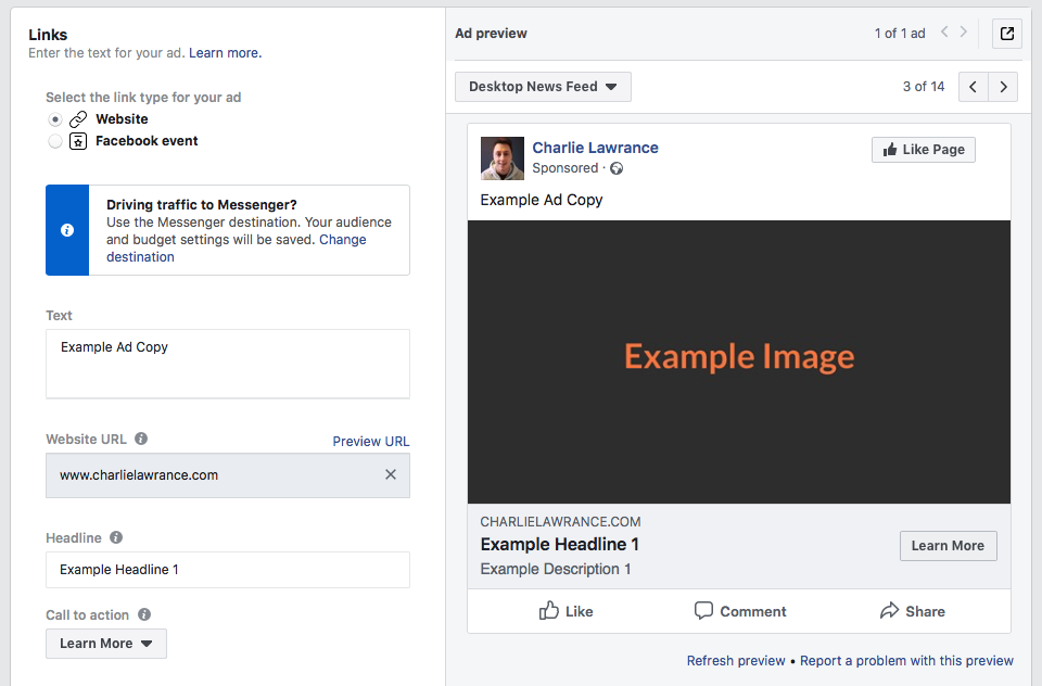 split test your Facebook ad creating single image ad