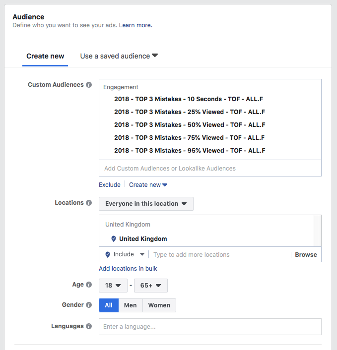 split test your Facebook - Video custom audiences