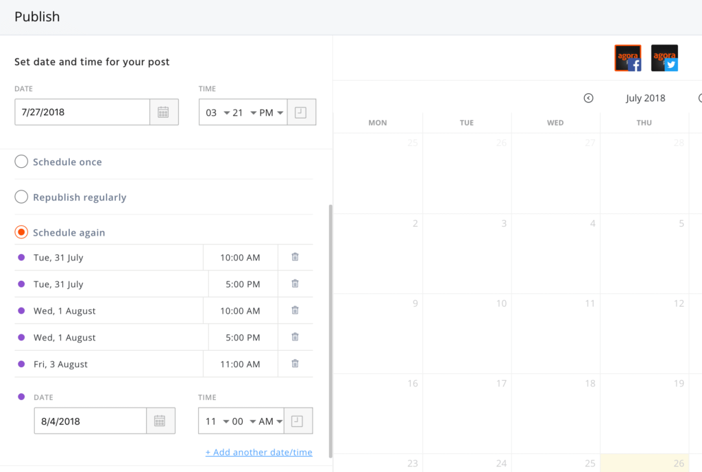 screenshot of publishing schedule with agorapulse