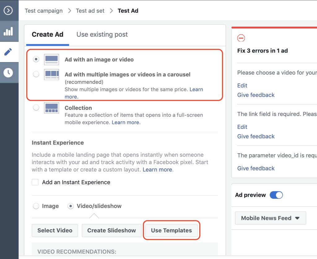 Facebook Creation Kit navigation