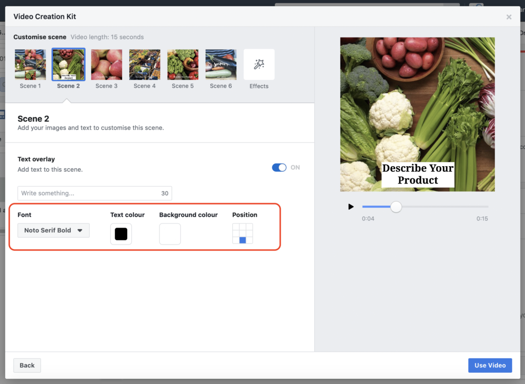 Facebook Creation Kit Scene 2 Text