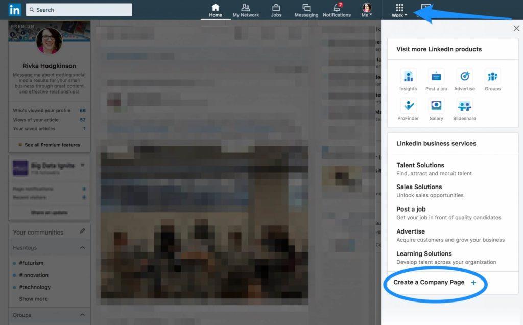 create a linkedin company page - step one create the page