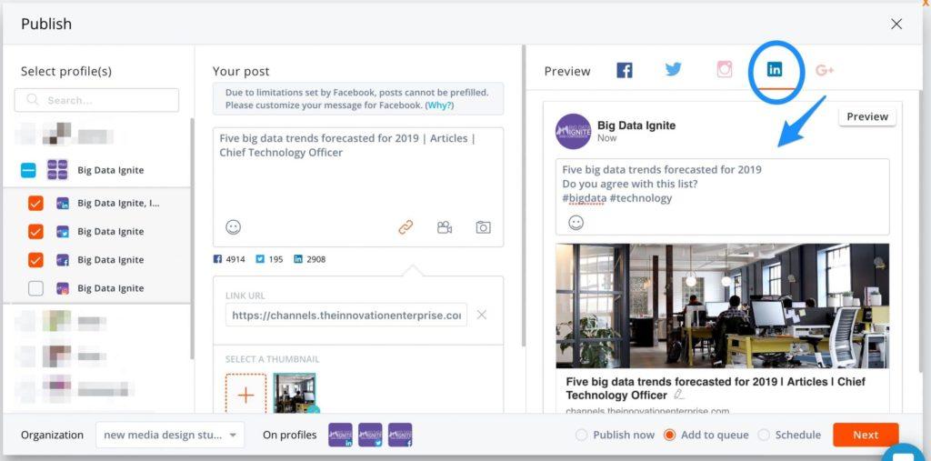 schedule linkedin posts -- screenshot step 5