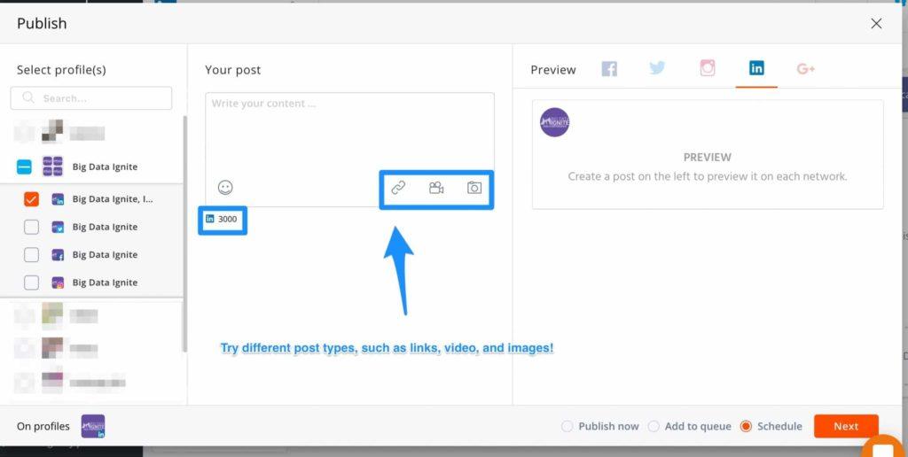 schedule linkedin posts -- screenshot step 4