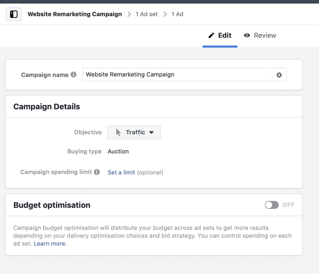 website visitors facebook ads