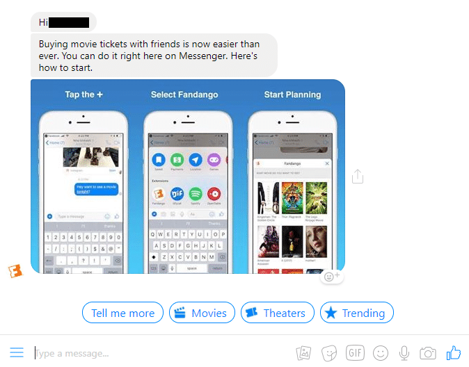 facebook messenger chatbot example