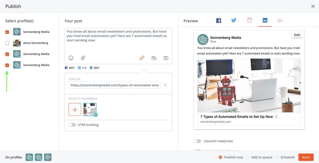 How to publish to multiple social channels on Agorapulse -- screenshot step 8