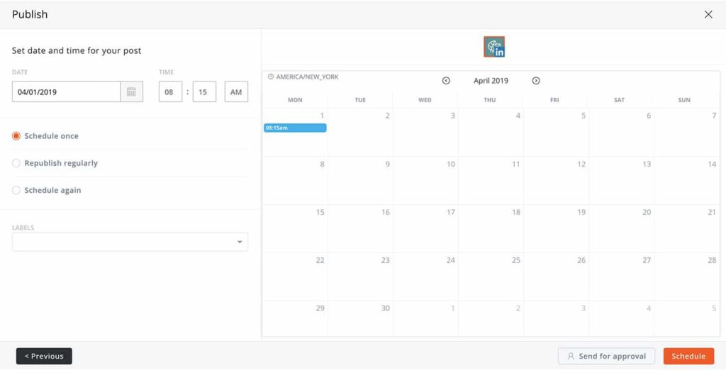 How to schedule a post to LinkedIn on Agorapulse -- screenshot step 2