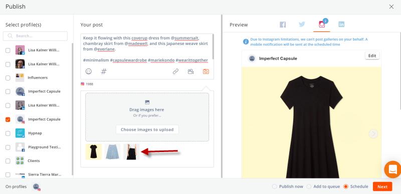 Screenshot of Agorapulse Social Media Management Tool on how to set up an Instagram Carousel