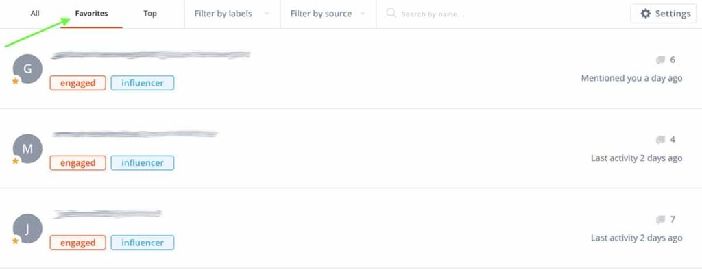 Segment favorites with a social media CRM