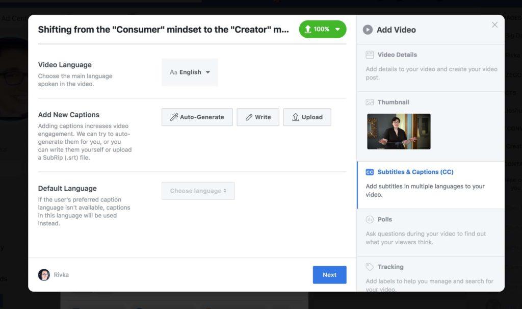 subtitles for Facebook videos