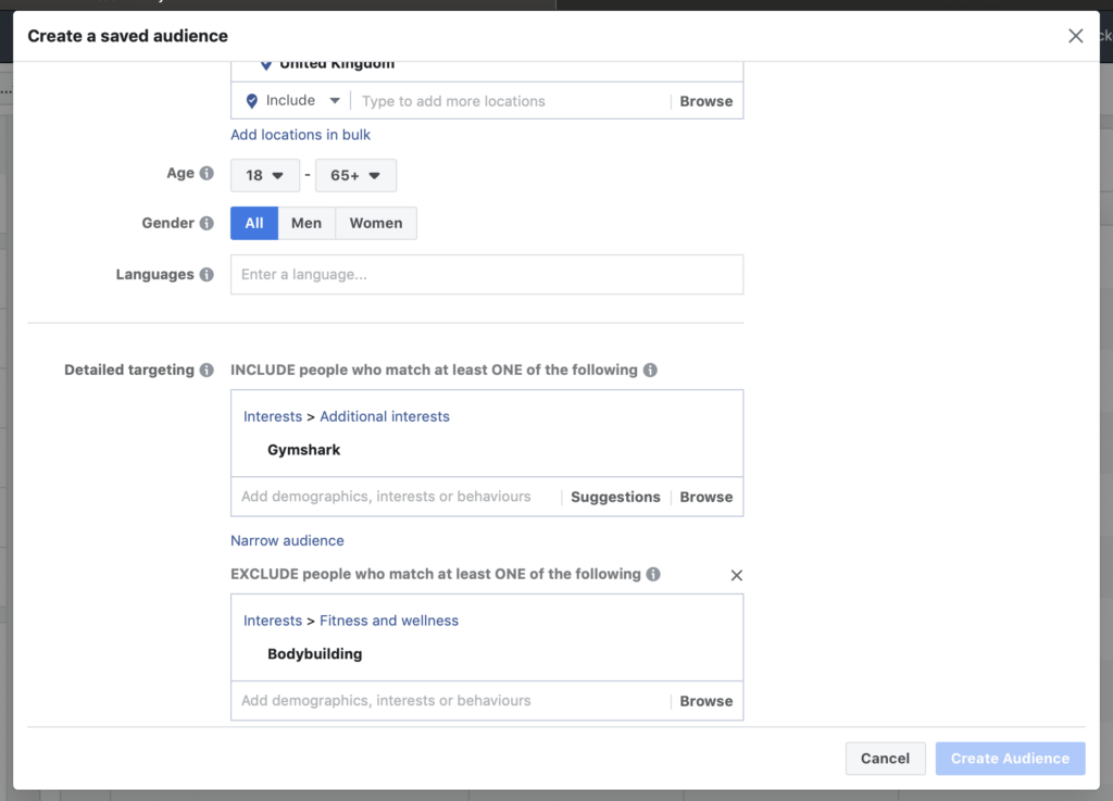 create a saved audience for your facebook ad