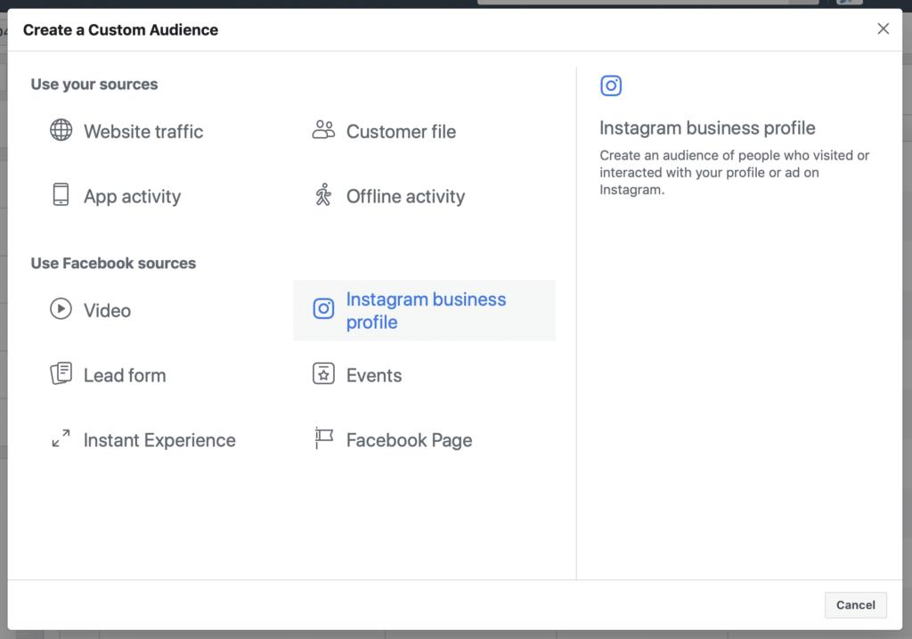 IG CA Facebook targeting