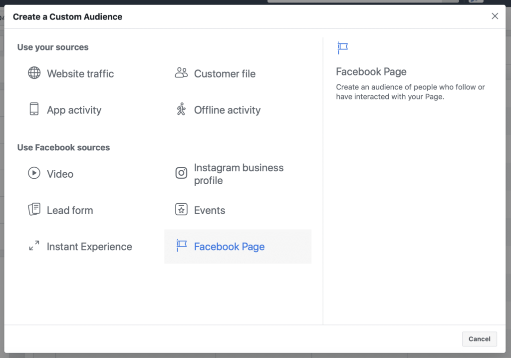 Page Engagement CA Facebook targeting