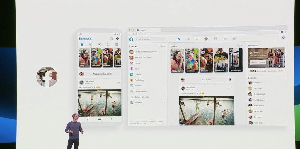 Mark Zuckerberg showing off Facebook FB5