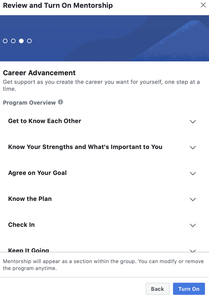 review and turn on mentorship for your facebook group