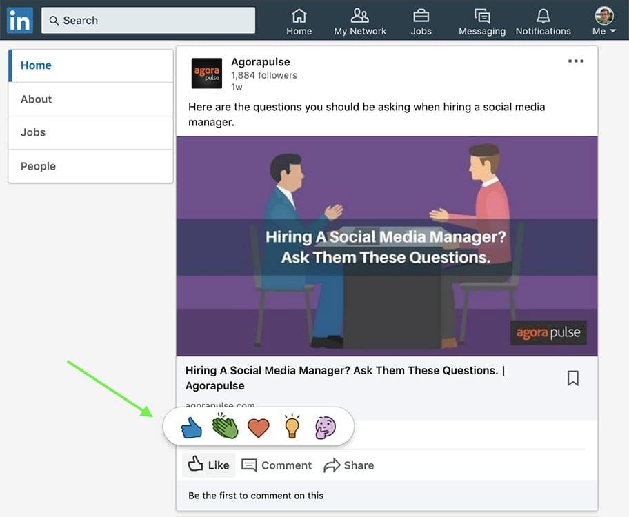 how to use LinkedIn reactions -- screenshot step 1