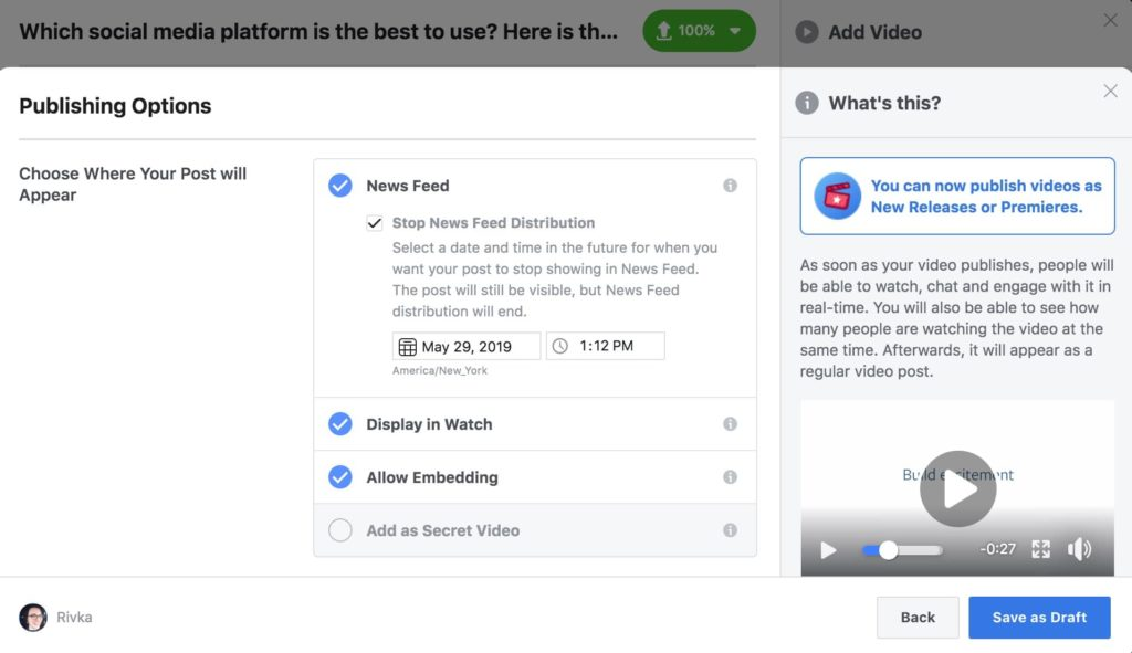 Facebook video publishing, where to post