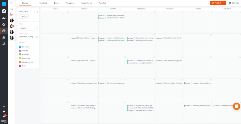 calendar view in publishing social media posts