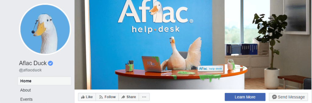 Aflac duck brand character for storytelling