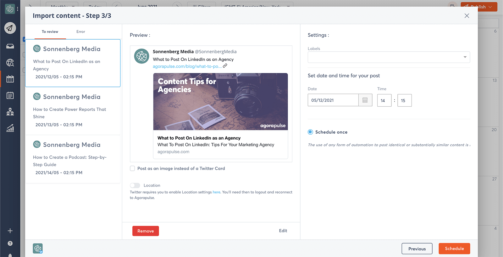 bulk publishing on social media screenshot on agorapulse