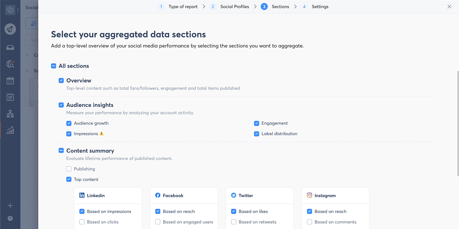 screenshot of select your aggregated data sections