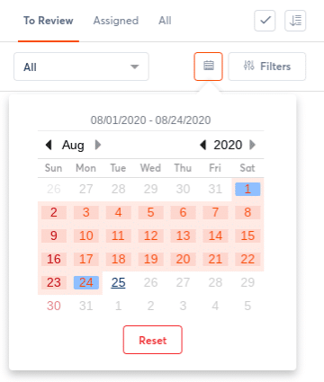 calendar range for linkedin inbox