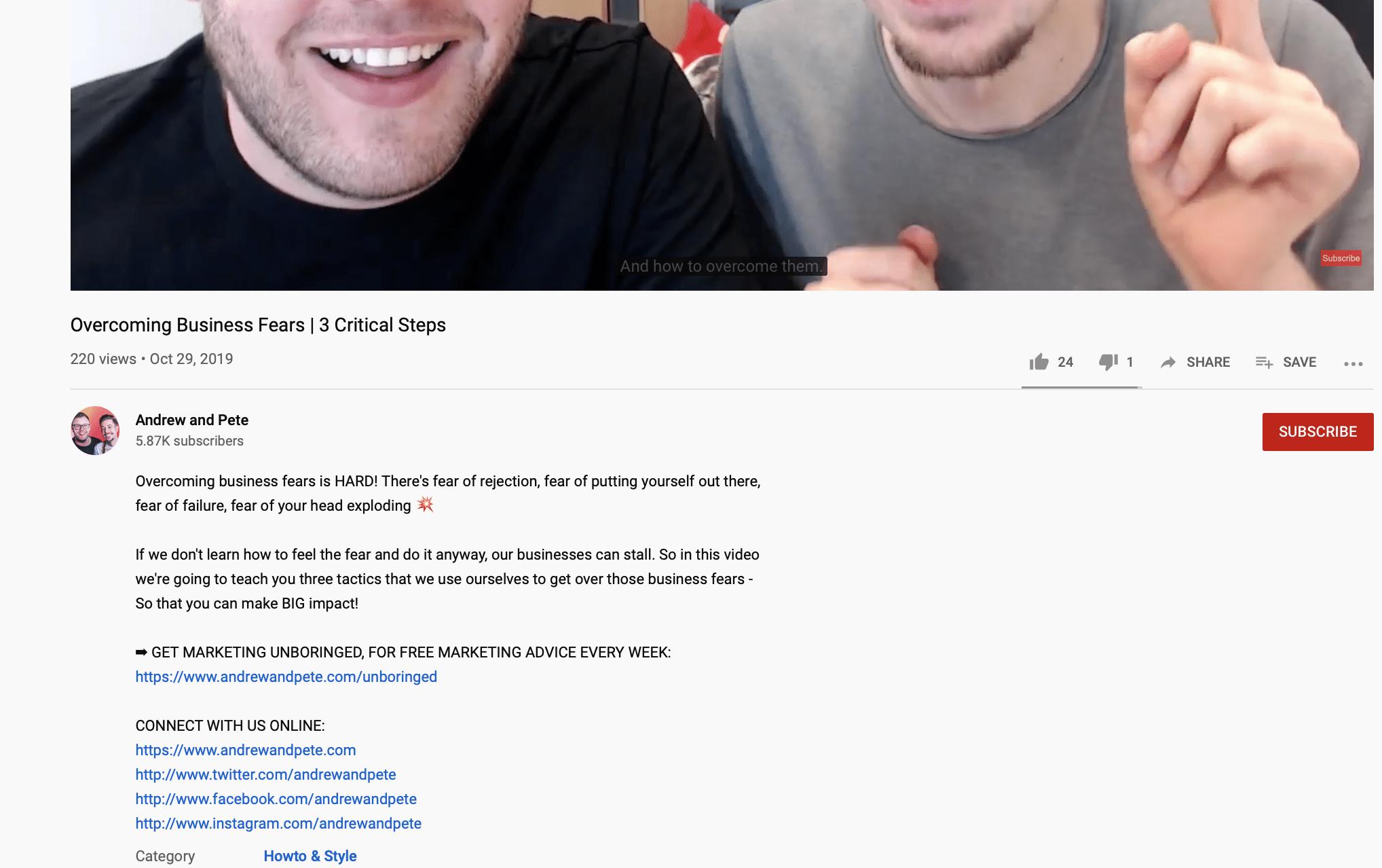 social copywriting tips YouTube descriptions