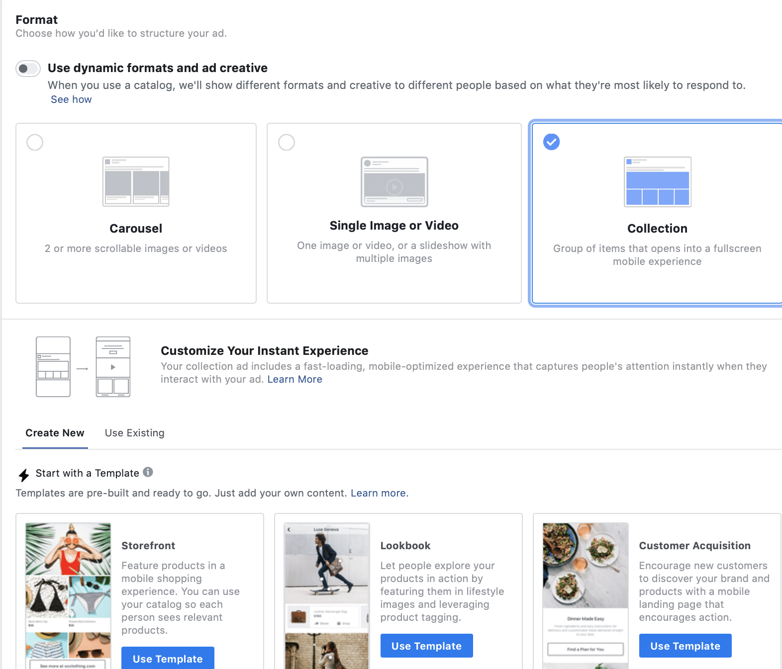 example of setting up facebook collection ads