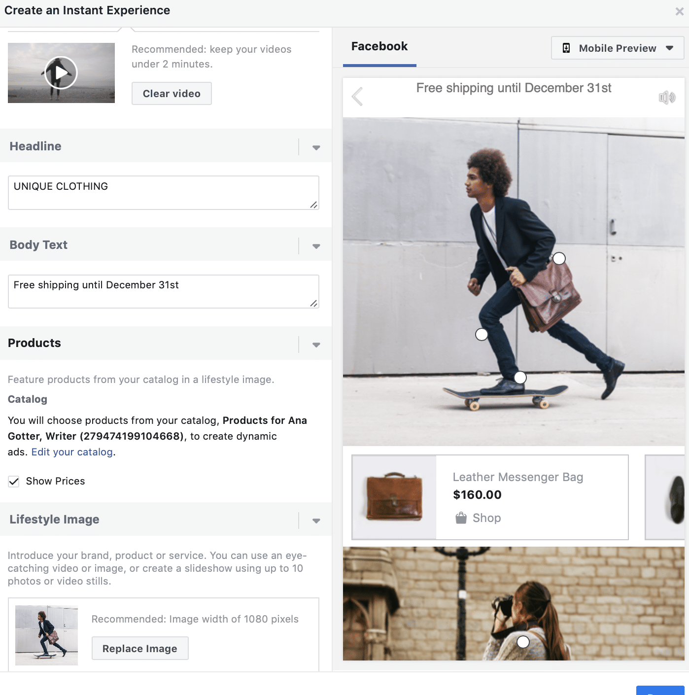 create an instant experience in collection ads