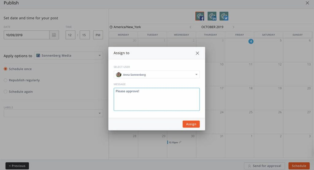 Use an approval process when scheduling social media content