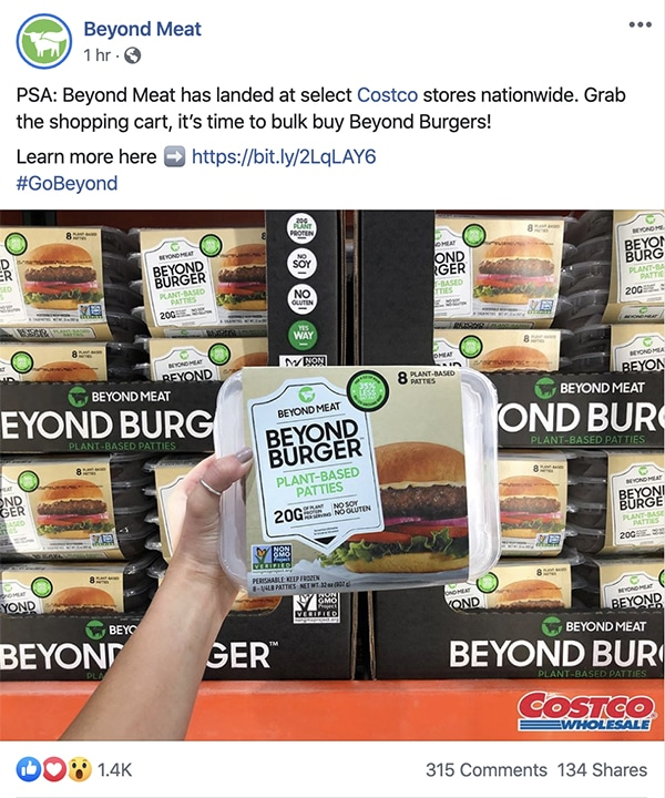 Social Call to Action - Beyond Meat