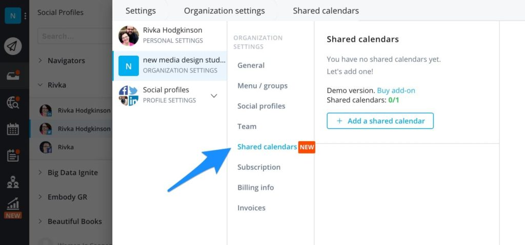 create a shared calendar