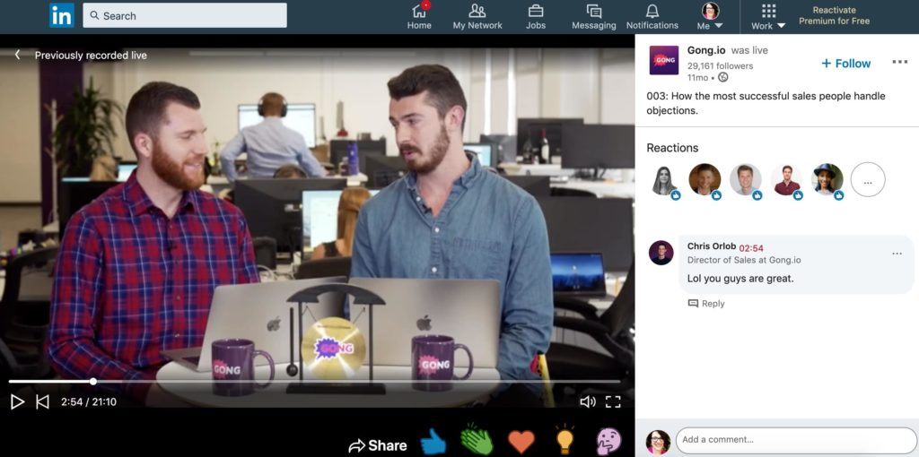 here's an example of a linkedin video that does great