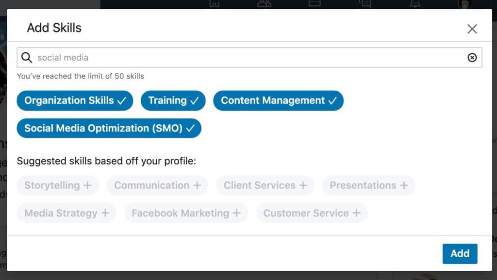 LinkedIn skills added
