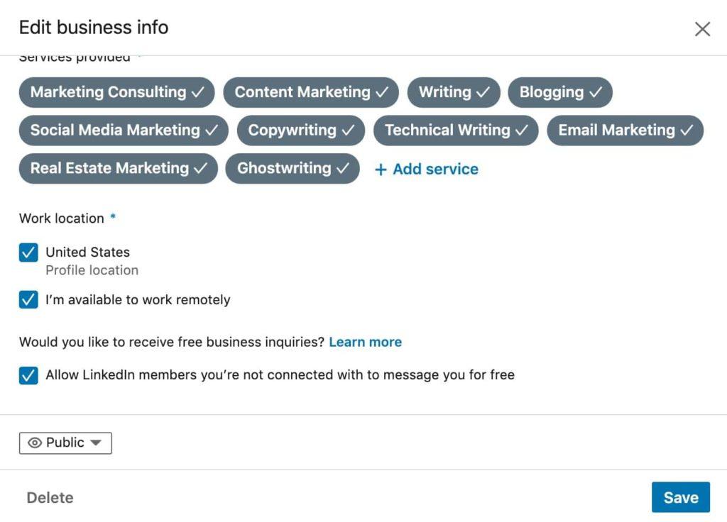 LinkedIn summary