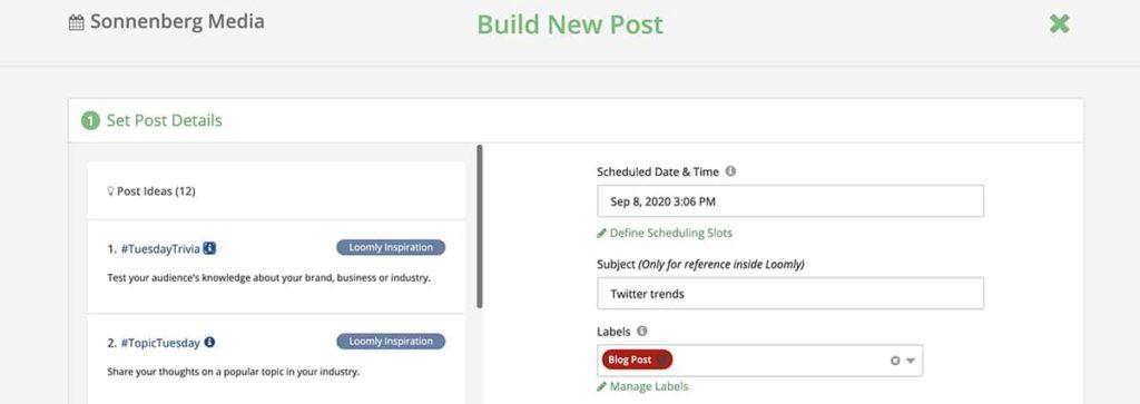 social media management tool loomly -- screenshot of user interface