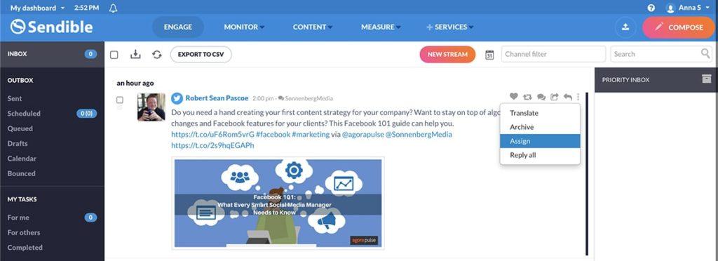 social media management tool sendible -- screenshot of user interface