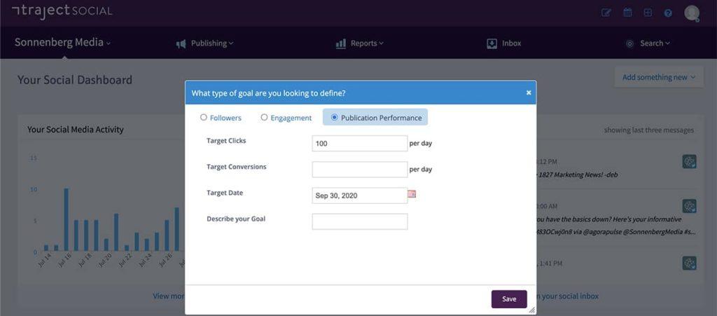 social media management tool Traject social -- screenshot of user interface