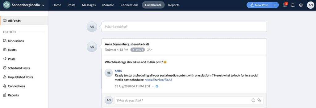 social media management tool Zoho social -- screenshot of user interface